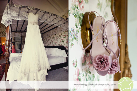 Lace wedding gown and purple shoes at the Stowehof Inn